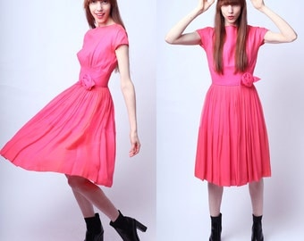 Vintage 1950s Andie Pretty in Pink Party Dress S