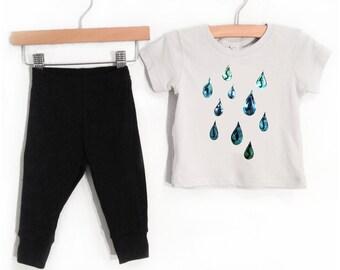 Sale, Iridescent Baby Raindrops Outfit, grey short sleeve shirt black pants, spring summer rain drop design, infant toddler children t-shirt