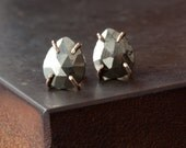 Faceted Iron Pyrite Stud Earrings in 14kt Gold