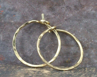 14k Gold Hoop Earrings - Solid 14k Gold Hoops - Yellow Gold - White Gold - Rose Gold Hoops