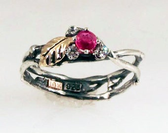 Ruby Diamond Eco Engagement Ring