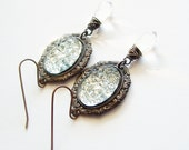 Ice Crystal Earrings Faux Drusy Druzy Jewelry Vintage Sugar Stone Clear Crystal Earrings Victorian Icy Crystal Jewelry