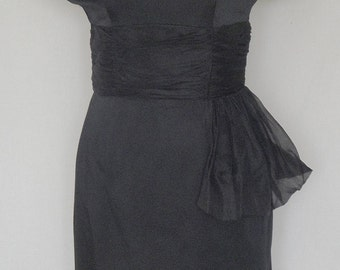 Fab Black Satin Acetate Party Dress Ruched Waist Chiffon Scarf B38
