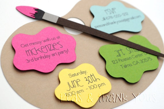 Signature Artists Palette Birthday Invitations A2 Die – Painting Birthday Invitations