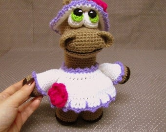 Crochet toy Amigurumi Pattern -Lady Hippo
