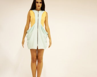 SAMPLE SALE! Orange and mint green blue dress