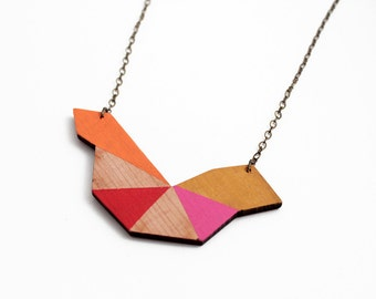 Polygon, geometric wooden necklace - orange, red, pink mustard, natural wood - minimalist, modern jewelry - color blocking