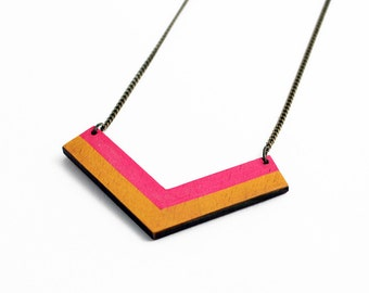Geometric, chevron wooden necklace - neon pink, yellow - minimalist, modern jewelry