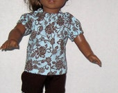 American Girl 18 Inch Doll Clothes Chocolate Brown and Aqua Flower Set  Handmade