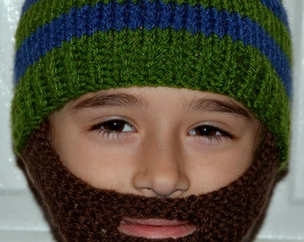Beard Hat, Knitted Beard Hat, Beard Beanie, Kids-All Sizes, All Colors, Bearded Cap, Bearded Hat, Bearded Beanie