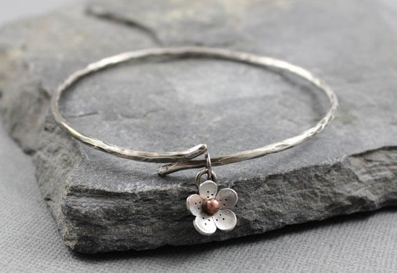 Cherry Blossom Branch Bangle - sterling silver and bronze, metalsmithing, gifts for her, Gifts under 50