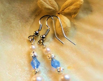 Classic White Pearl and Blue Crystal Earrings, Pearl Jewelry, Bridal Jewelry, Handcrafted Jewelry, Dangle Earrings, Blue and White