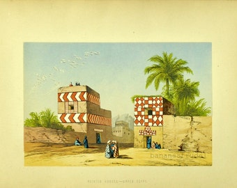 1880s Antique English Chromolithograph of Painted Houses in Upper Egypt