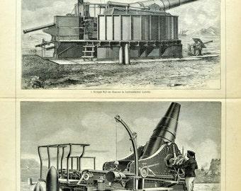 1897 Antique German Back-to-Back Engraving of Artillery - TW13 103