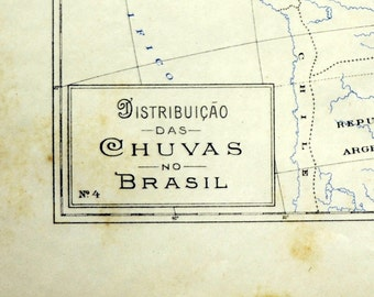 1922 Small and Tan and Old and Lovely Brazilian Map of Rainfall Distribution in Brazil