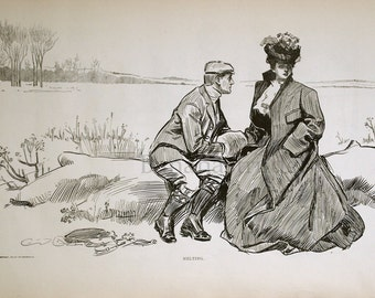 Gibson Girl - Melting Point - Humorous 1907 Antique Charles Dana Gibson Print