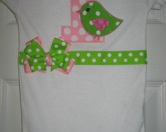 Baby girl Bird Birthday bodysuit, First Birthday Bird bodysuit, Bird Birthday  outfi
