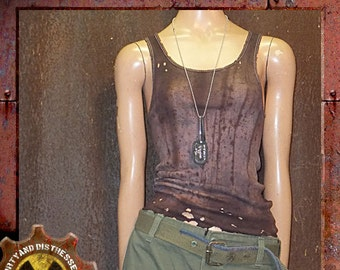 Made to Order a Womens One of a Kind Ruined and Rusted Dirty and Distressed Wasteland Tank Top