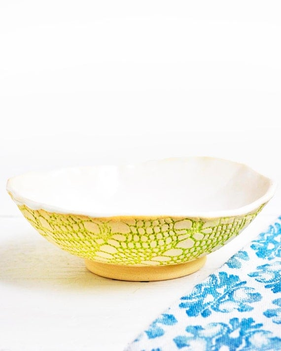 sculptural Ceramic Bowl Textured Lace Serving Bowl in Satin White and Chartreuse handmade stoneware