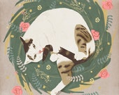 Cat grooming cute illustration - print 8 x 11.5