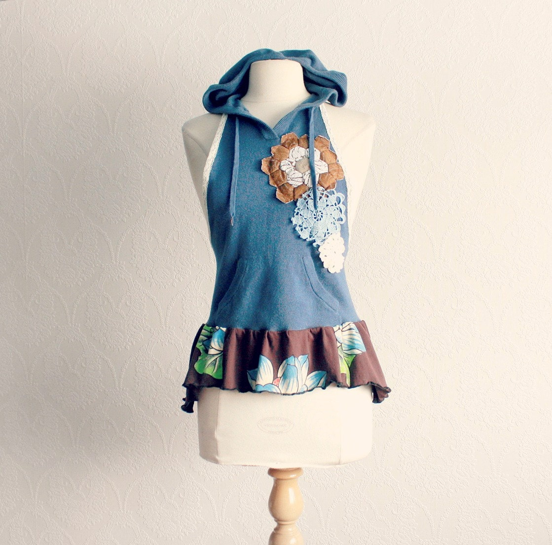 Upcycled Clothing Hooded Vest Women's Blue Top Bohemian