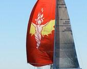 Red & Yellow Sailboat Art, Nautical Decor, Sailboat Photography, Red Beach Art, Sea Goddess Art Print, Newport Bermuda Sailboat Print