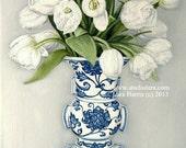 Still Life - Spring Tulips in a Ming Vase . . . . .. . . . .11x14 Fine Art Giclee Print by LARA Ginger Jar