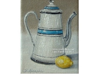 CUSTOM Itty Bitty Bits of Pretty. . .Vintage French Enamelware with Lemon -Still Life 3x4 Original Painting in OIL by LARA coffee pot teapot
