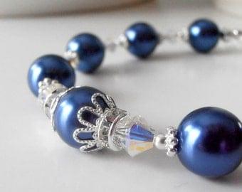 Dark Blue Bridesmaid Jewelry Pearl Bracelet in Silver Sapphire Blue Wedding Jewelry Sets Marine Bridesmaid Bracelets Beaded Jewelry