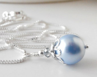 Light Blue Bridesmaid Necklace Pastel Blue Pearl Pendant Silver and Blue Wedding Jewelry Sets Beaded Bridesmaid Jewelry Gift Blue Jewelry