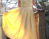 vintage 50s yellow gingham spring summer day dress