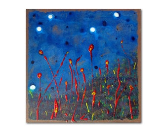 SALE Modern Abstract Painting Moondance Contemporary Fine Art 10x10 Acrylic Original Home Decor Cobalt Blue Midnight Stars Night Flowers