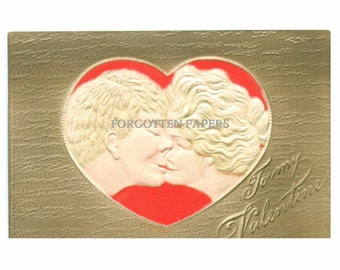 1911 Vintage VALENTINE Postcard with Embossed Lovers Kissing in a Heart