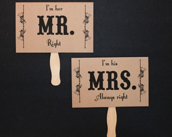 Photo Booth Prop. Wedding Photo Prop. Thank You and Mr. and Mrs. Kraft Double Sided Paddle Signs . Fan