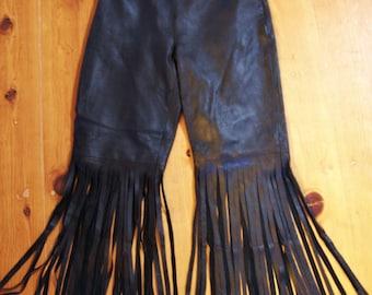 Leather Pants, Black Fringe Pants, Fringe Leather Pants, Boho Leather pants, size M / L