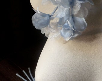 BLUE Organza Flowers in Something Blue for Bridal, Headbands, Hats, Sashes, Boutonnieres, Corsages MF 89