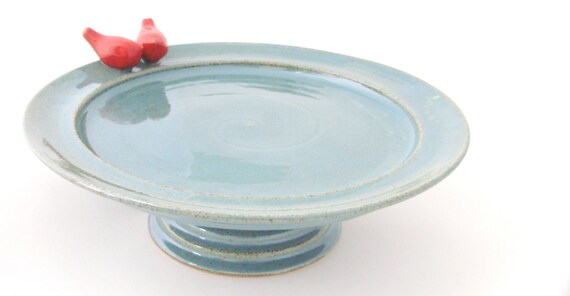 Handmade Stoneware Cake Stand with Little Red Birds