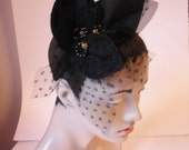 Black layered Leaves Headpiece, Fabric Leaves and Gold Beaded Fascinator, Black evening Headband