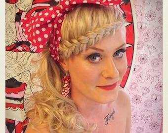 Pin Up -style polka dot Hair Bow scarf, dark pink