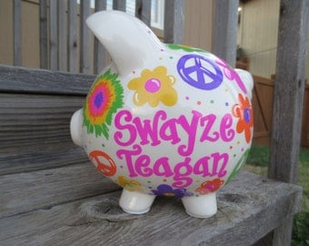 Peace, Love, Tie Dye-Personalized Piggy Bank-Large
