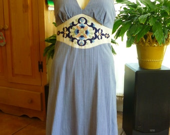 Halter Dress Chambray Blue Crinkle Muslin w Folkloric Embroidery SZ S Miss K by Alfred Shaheen