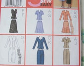 CLEARANCE Butterick 3037 Sewing Pattern - Women's Top, Flared or Straight Skirt and Scarf, Easy to Sew Sizes 20-24