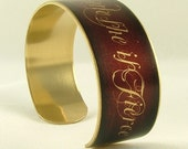 Though She Be But Little She Is Fierce - Shakespeare Jewelry - A Midsummer Night's Dream Brass Cuff in Red - Sister Gifts Under 35
