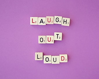 laugh out loud photograph / LOL, laughter, happiness, typography, humor, purple, nursery decor / laugh out loud / 8x10 fine art photo