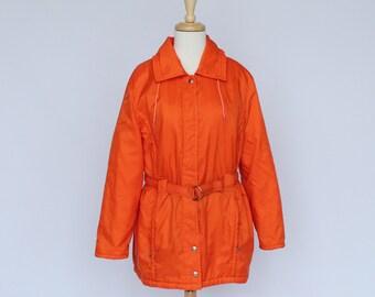 60's / 70's Ski Jacket / Hooded Parka / Zip Front / Orange / Women's / Small to Medium