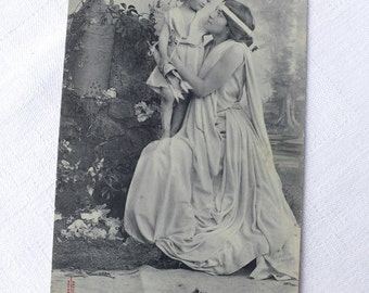 French Vintage Antique Scene Photo - Venus Love Postcard - Collectible Black and White Photography Card - Shabby Chic Home Decor
