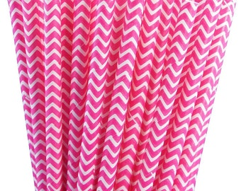 25 Shocking Pink (Hot Pink) Chevron Stripe Paper Straws with Printable Party Flags PDF File