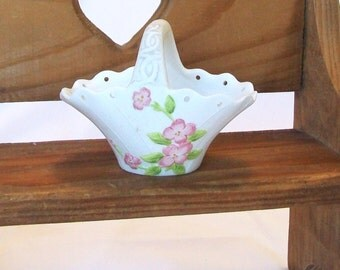 Lefton China Small Basket Vase Vintage Pink Flowers Ceramic Easter Bowl with Handle and Holes for Ribbon Candy Nut Dish