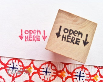 open here stamp. snail mail stamp. hand carved rubber stamp. hand lettered stamp. packaging stamp. gift wrapping. mail art. mounted