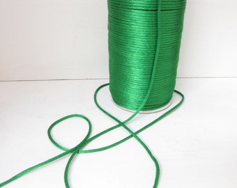 Green Satin Cord 2mm Cord macrame cord Kumihimo cord 2 yards satin cord Necklace cord Jewelry Supply